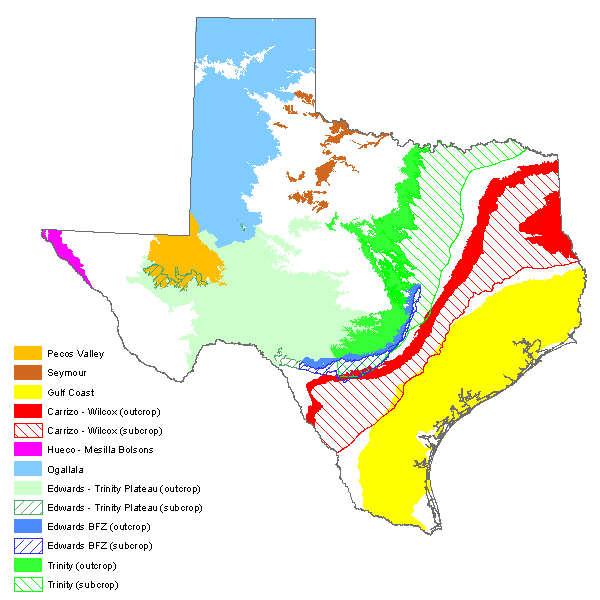 map of major aquifers of Texas